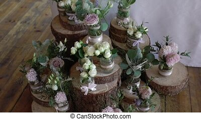 Flowers decoration at wedding rustic