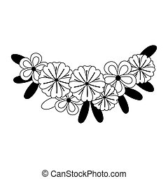 flowers decoration leaves isolated design icon line style