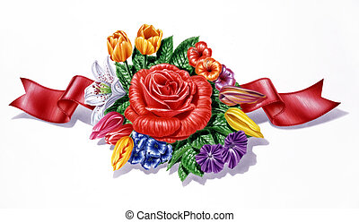 Flowers, different species and multicolor composition, with red ribbon, on white background.