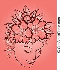 flowers., donna, faccia