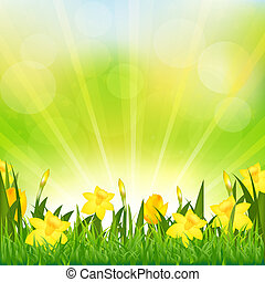 Flowers Easter Background, Vector Background