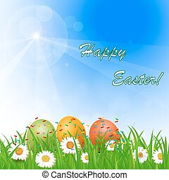 flowers, Easter eggs and butterflie
