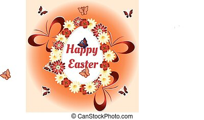 flowers, Easter eggs and butterflies