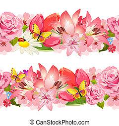 flowers., ensemble, frontière, seamless, beauté