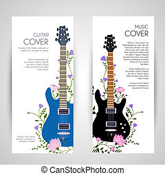 flowers entwined guitar vector vertical banners concept.