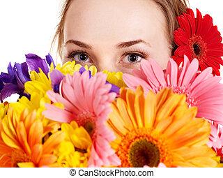 flowers., femme, jeune, tenue, heureux