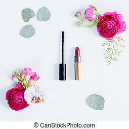 Flowers flat lay composition - Flowers and make up...