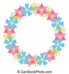 Flowers flat vector frame in circle for postcards