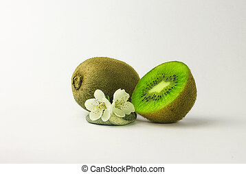flowers, food, fruits, green, kiwi, leaf, line, nature, stone, white,