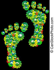 Flowers footprints - Two human footprints formed by many...