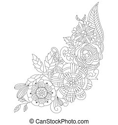 Flowers For Coloring Book Adults Vector Zentangle Illustration