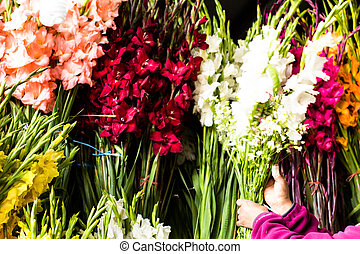 Flowers for sale at Peruwian market in South America.