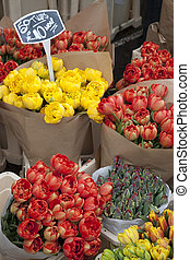 Flowers for sale on market stall
