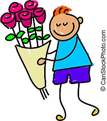 flowers for you - little boy delivering some flowers -...