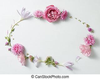 flowers frame in white background - round frame wreath ...
