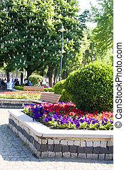 flowers garden benches in Hippodrome Park by Blue Mosque Sutanahmet Istanbul Turkey