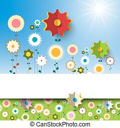 Flowers Garden. Vector Spring Background.