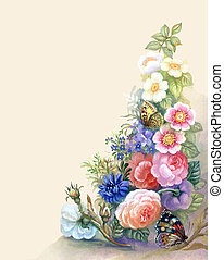 Flowers Garland: watercolor background, bouquet of rose