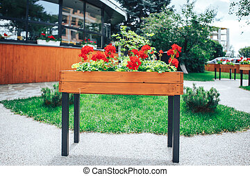 flowers grow in a large wooden pot on the street