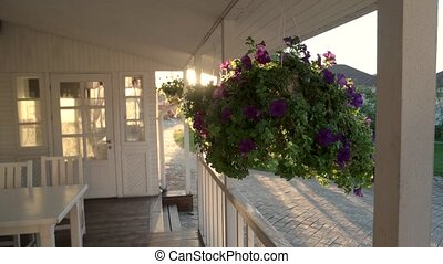 Flowers hang on porch. House and sun shining brightly. Don't...