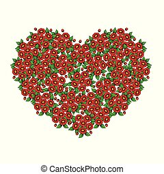 Red flowers with green leaves bouquets in heart shape form isolated on white background