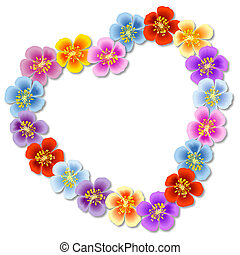 Heart-shaped flowers frame on white background