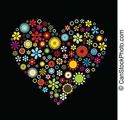 Flowers Heart on black background Vector Illustration