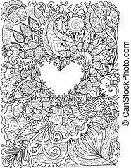 Line art design of flowers around heart shape with copy space. Vector illustration.