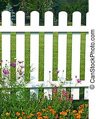 flowers., herbe, blanc vert, barrière