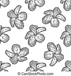 Flowers hibiscus, bouquet seamless. Scratch board imitation. Black and white hand drawn image. Engraving vector illustration