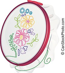 Sewing Illustration Featuring a Cloth Embroidered with Flowers Held by an Embroidery Hoop