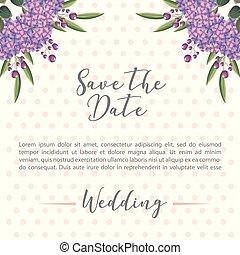 flowers hydrangea decoration wedding save the date card