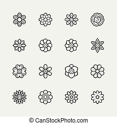 Flowers icon set in thin line style