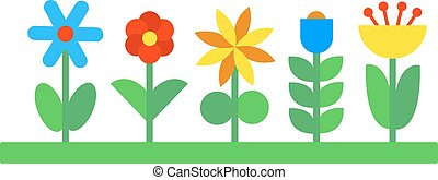 Flower icons colorful plants nature flat.
