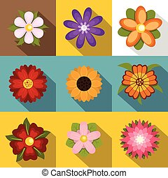 Flowers icons set, flat style