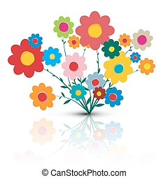 Flowers Illustration. Vector Flower Cartoon. Retro Colorful Flowers Isolated on White Background.