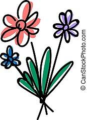 Flowers, illustration, vector on white background.