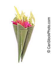 Flowers in a banana leaf