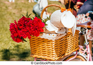 Flowers in a bicycle basket