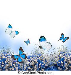 Flowers in a bouquet, blue hydrangeas and butterfly