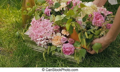 Flowers in a boxes for decor