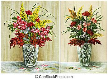 Flowers in a crystal vase, set