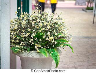 flowers in a pot, garden decoration ideas