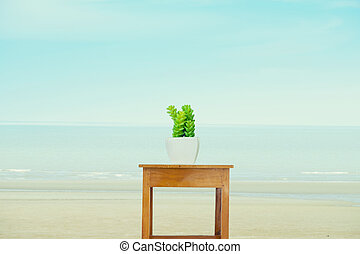 Flowers in a pot over the sea
