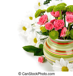 flowers in a vase on a white background