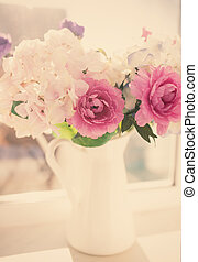 Flowers in a vase, vintage look