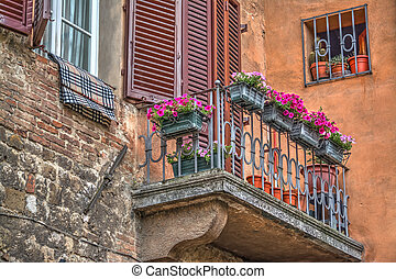 flowers in a vintage balcony