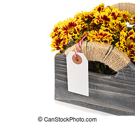flowers in a wooden box