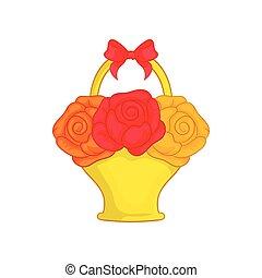 Flowers in basket icon, cartoon style