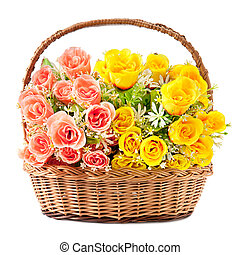 flowers in basket isolate on white background